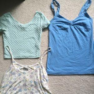 3 pastel colored tops bundle